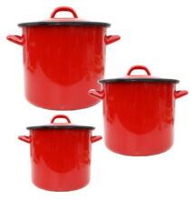 Piros zománcozott fazék 4 Literes