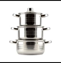 Rozsdamentes edénykészlet üvegfedővel ( 6 részes )