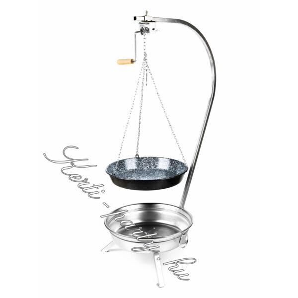Fekete tűzteres állvány + láncos zománcozott szeletsütő 42cm (magyar termék)
