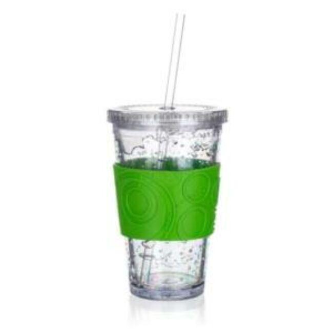Duplafalú hűtőzselés pohár szilikon tartóval 450 ml