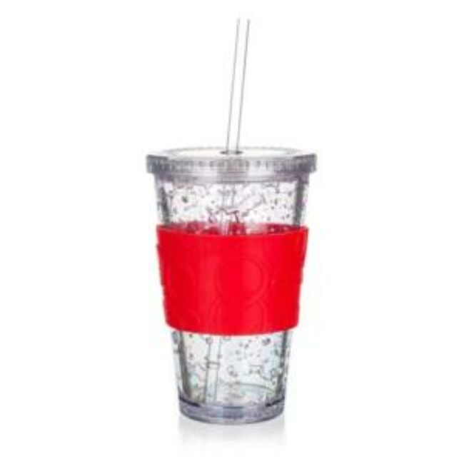 Duplafalú hűtőzselés pohár szilikon tartóval 450ml