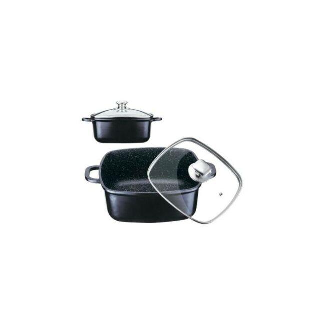 Gránitbevonatos sütőtál, fedővel 24x24x10cm - 4.5liter