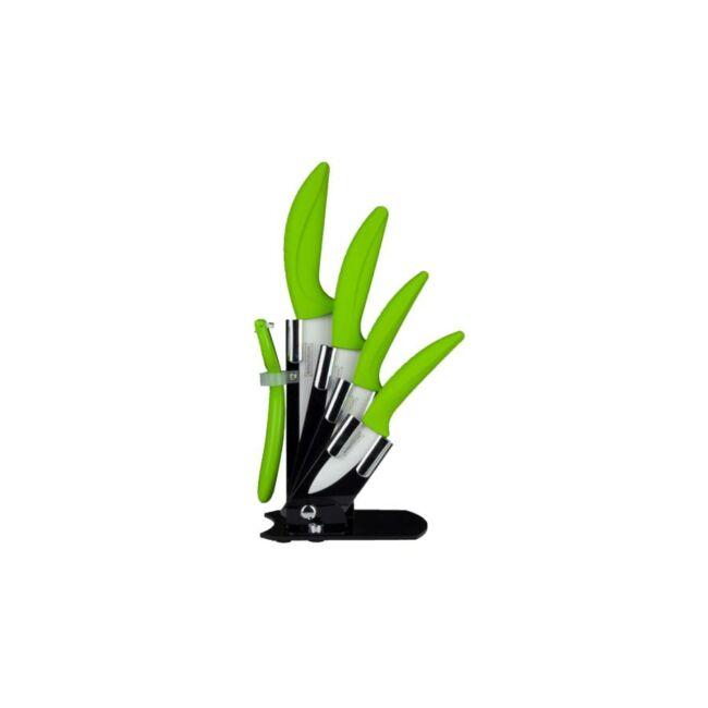 Kerámia késkészlet tartóállvánnyal (zöld)