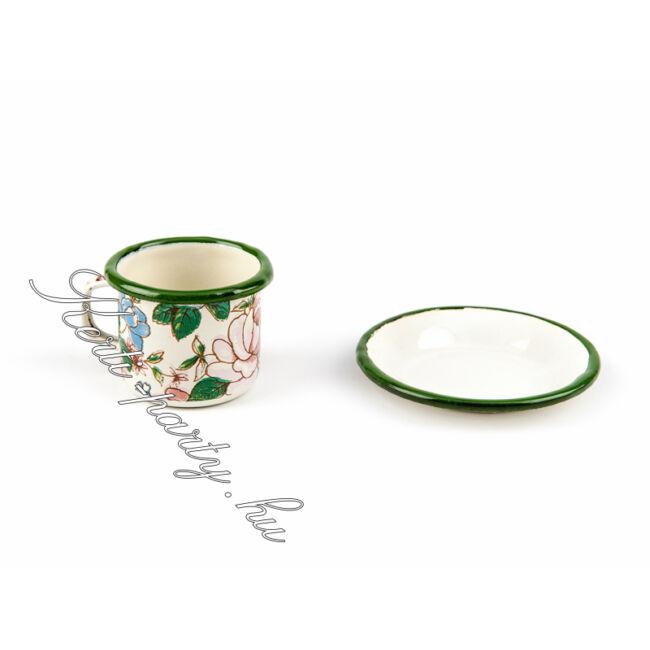 Virágmintás kávés bögre + csésze alj