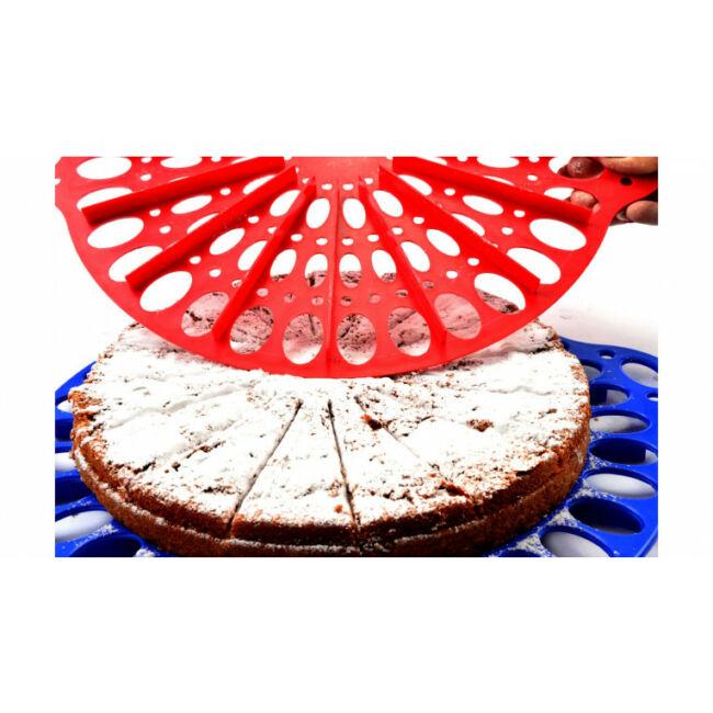 Piros tortadíszítő, tartó és szeletelő