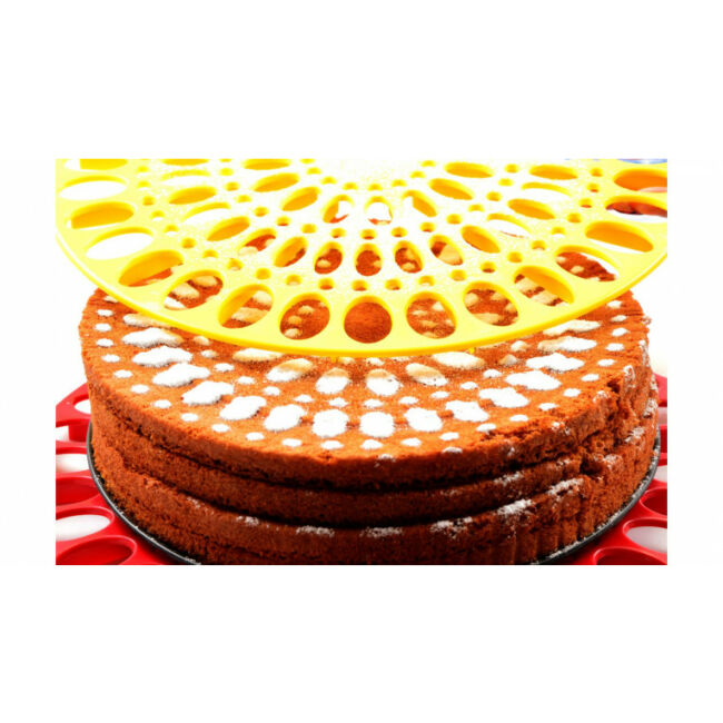 Sárga tortadíszítő, tartó és szeletelő